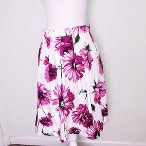 Roz & Ali Floral Daisy Pleated Midi Skirt